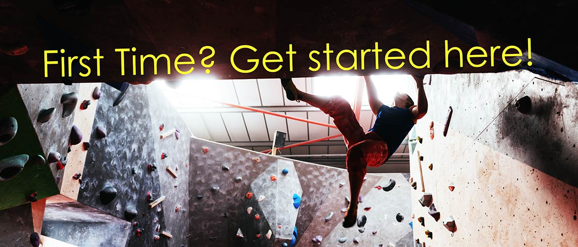 First time? Get started here! (picture of climber on cave roof)
