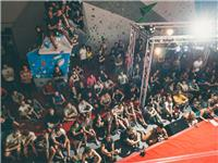 The crowd gathers to watch the finals on the Comp Wall at the 2014 Boulderfest competition